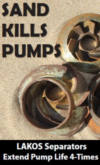 Pump impellers that have been damaged by sand ingestion are shown. The surfaces and edges of the impeller blades are pitted and rough. Text overlaying the image reads